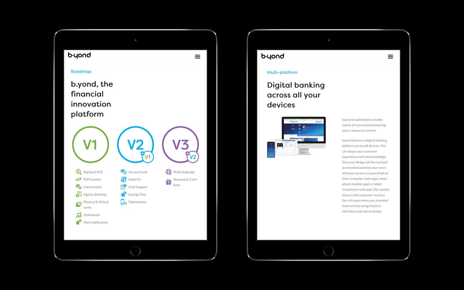 b.yond website design ipad