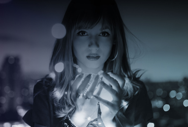 digital dreams woman lights